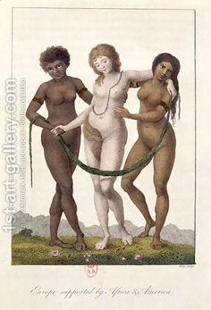 Europa apoiada pela África e América, a partir de narrativa de uma expedição de cinco anos contra os negros Revoltada do Suriname 1772-1777, gravado por William Blake 1757-1827, publicado 1796