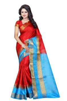 Variation Red Poly Cotton Saree with Poly Cotton Red Blouse