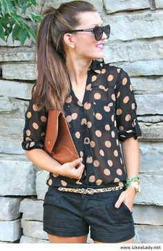 Black polka dot blouse and shorts. Perfect summer outfit