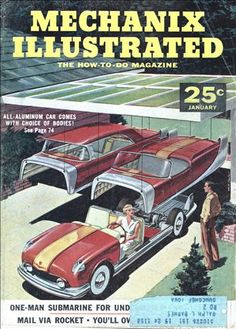 """From the article: """"Interchangeable bodies on a low-slung chassis make this a real all-purpose vehicle. Almost very time a family goes out to buy a new car the same husband-and-wife argument comes up. He wants a snappy sports job that bowls along at 100 per, while she demands a nifty station wagon that will carry half the neighborhood."""""""