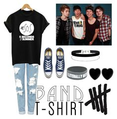 """""""5SOS"""" by fashioncupcake900 ❤ liked on Polyvore featuring Topshop, Converse, Miss Selfridge, Dollydagger, bandtshirt and bandtee"""