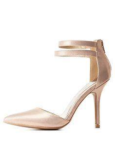 Textured Metallic Strappy D'Orsay Pumps: Charlotte Russe #pumps #metallic #heels #CRshoecloset