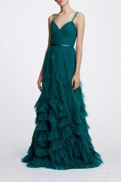 2d41bf8cde5 Marchesa Notte Sleeveless Textured Tulle Gown with a V-Neckline and a  Fitted Bodice.