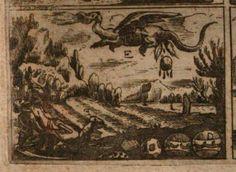 """Grabado del s. XVII, del libro  'Beschreibung deß berühmbten Lucerner- oder 4 Waldstätten See', Lucern: David Hautten; 1661, del cronista Johann Leopold Cysat  (1601-1663), en el que se han representado las supuestas circunstancias históricas en las que se produjo el hallazgo de la piedra del """"Pilatusdrache"""". En la parte inferior, derecha, se ve la susodicha piedra, vista por sus dos hemisferios. http://reader.digitale-sammlungen.de/en/fs1/object/display/bsb11211331_00191.html?zoom=1"""