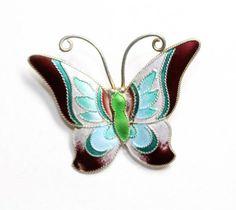 Sterling Silver Enamelled Blue Green Brown Butterfly Brooch