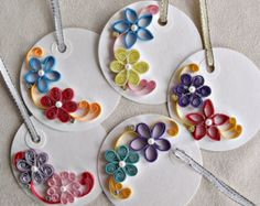 handmade paper quilled gift tags set of five by sayitwithblooms Paper Quilling Flowers, Paper Quilling Jewelry, Paper Quilling Patterns, Origami And Quilling, Quilling Paper Craft, Paper Crafts, Fancy Envelopes, Quilled Creations, Handmade Gift Tags