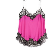 Givenchy Floral lace trim silk satin lingerie camisole ($1,730) ❤ liked on Polyvore featuring intimates, pink, cami lingerie, lace trim cami, floral cami, neon cami and lingerie cami