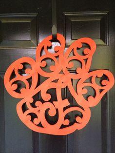 Wooden Tiger Paw Monogram Door Plaque by RickRackScissors on Etsy