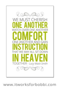 """It Works For Bobbi!: """"We Must Cherish One Another"""" Free Printable Download"""