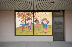 Solar roller shades with your favorite photo or business logo.  These give you a good deal of privacy, light control and UV protection without completely blocking the view.