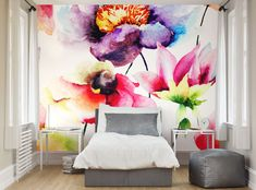 Photo Wallpaper Wall Murals Summer Flowers Watercolour Floral Wall Decals Decor Living Room Home Wall Art Decals XL 70 Normal Wallpaper, Photo Wallpaper, Wall Wallpaper, Wallpaper Paste, Wallpaper Roll, Flower Mural, Flower Wall Decor, Watercolor Walls, Watercolor Flowers