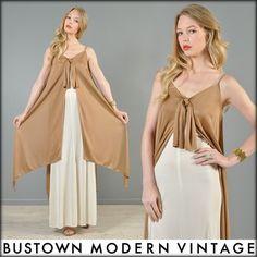 Vtg 70s Ultra Drape Grecian Airy Goddess Wedding Cape Hippy Boho Maxi Dress Gown | eBay