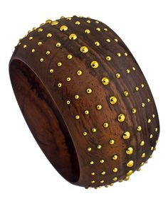 Karen London Bliss Bangle #jewelry #accessories #bangle #bracelet #wooden #gold #chic #stylish #brown