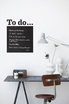 to do. wall sticker tavle fra Ferm Living, for my home office Home Office Design, Office Decor, House Design, Zen Office, Office Nook, White Office, Bedroom Office, Office Spaces, Office Ideas