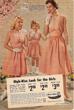 Immensely sweet matching peach and white mother-daughter summer dresses from the 1959 Montgomery Ward catalog. #mother #daughter #peach #sundress #gloves #vintage #dress #retro #fashion #1950s #dress