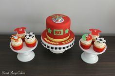 Benfica birthday cake with Portugal themed cupcakes