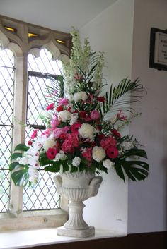 Hot Pink Sweet Peas & Orchids in The English Lake District at Ozzie & Michelle's Intimate Garden Party Wedding Day Easter Flower Arrangements, Artificial Flower Arrangements, Beautiful Flower Arrangements, Beautiful Flowers, Altar Flowers, Church Flowers, Wedding Flowers, Hot Pink Weddings, Funeral Arrangements