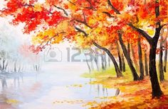 Oil painting landscape autumn forest near the lake orange leaves Stock Photo