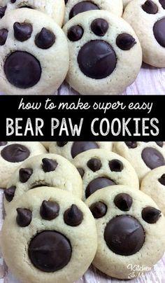 Bear Paw Cookies recipe fun treat for kids Recipes Bear Paw Cookies Recipe, Sugar Cookies Recipe, Bear Cookies, Bear Cupcakes, Cake Cookies, Fun Cookies, Homemade Cookie Recipe, Betty Crocker Sugar Cookie Recipe, School Cookies Recipe