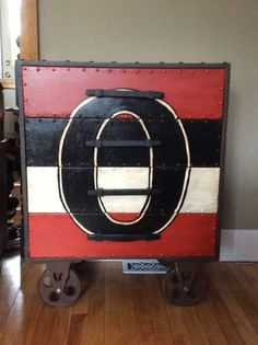 Ottawa Senators painted dresser, made to look like the striped Heritage Jerseys.