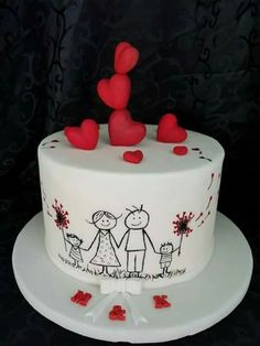 Cute family Valentine's cake Kuchen iDeen 🎂 Birthday Cake For Husband, Dad Birthday Cakes, Cupcake Birthday Cake, Cupcake Cakes, Husband Cake, Birthday Ideas, Cup Cakes, Happy Anniversary Cakes, Wedding Anniversary Cakes