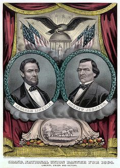A campaign poster from the National Union Party during the US election of 1864, showing presidential candidate Abraham Lincoln (left) and his running-mate Andrew Johnson. The Republican Party changed its name and selected Johnson, a former Democrat, to draw support from War Democrats during the Civil War.  Lithograph: Currier and Ives, Restoration: Lise Broer