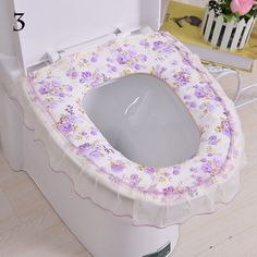 1PC Fashion Toilet Seat Cover lace egde flower Toilet Seats Cover Flower Series Amplify Washable Cover  Bathroom Products W3