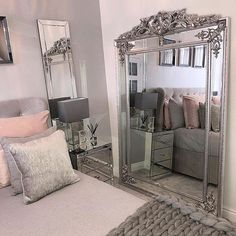 Based near Manchester William Wood are the UK's number 1 designer mirror retailer offering amazing designs, competitive prices, excellent service and free delivery. Bedroom Color Schemes, Bedroom Colors, Home Decor Bedroom, Diy Home Decor, Bedroom Ideas, Cream And Grey Bedroom, Grey Bedroom With Pop Of Color, Extra Large Mirrors, Green Wall Color