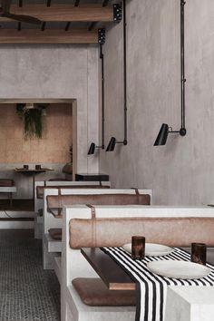 Cement and black steel merge to form the Brutalist interiors of Paradise Sri Lankan restaurant in Soho, London, by Dan Preston Studio. Restaurant Exterior Design, Cafe Interior Design, Cafe Design, Diy Interior, Cafe Bar, Brutalist Buildings, Design Café, Hotel Restaurant, Station Restaurant