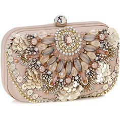 Amazing Phoebe Embroidered Hardcase Clutch - Grey | Accessorize ($72) ❤ liked on Polyvore