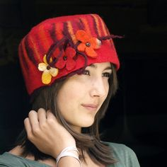 felt and cotton hat nuno felting handmade in france ♥ by jannio, $85.00