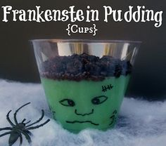 Easy Frankenstein Pudding Cups: No Trick Treats!   This is great for the kids parties at school.  Follow me daily for recipes, weight loss tips, motivational stories and much more at https://www.facebook.com/groups/DiannHealthyForLife/