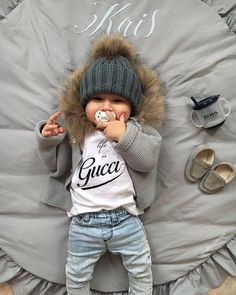 """Life is Gucci"" – with my young Versace pacifier! LaVielen thanks … – Cute Adorable Baby Outfits Little Boy Fashion, Baby Boy Fashion, Toddler Fashion, Fashion Kids, Fashion Clothes, Swag Fashion, Fashion Usa, Boy Clothing, Infant Clothing"