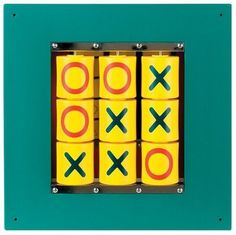 """The Tic Tac Toe Wall Panel is a great addition to any office, home, or waiting room. This beautifully crafted toy is designed to be mounted on the wall, so it doesn't take up a lot room and there are no loose pieces to get lost!  Each cylinder turns with an """"X"""" on one side and an """"O"""" on the other.  A classic game for everyone! Ages 3+    Size: 20"""" X 20"""" X 2"""""""