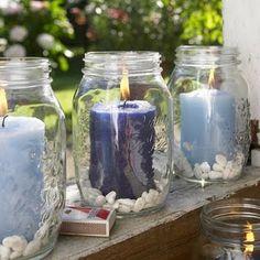 Pote de vidro decorado com vela