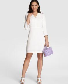 Vestido de mujer talla petite Zendra Petite en blanco con manga larga