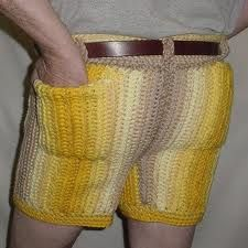 crochet men's shorts   too funny but yet oh so perfect for a joke gift, anyone finding this pattern or a similar one please pin for me to copy!