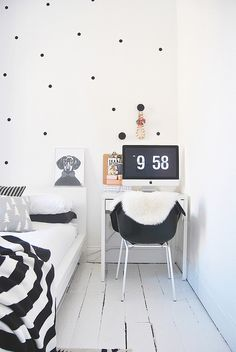 black and white, polka dot wall