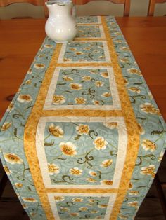 Table Runner Quilted Light Blue Floral Long