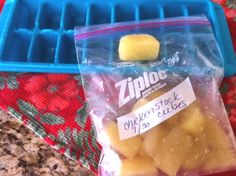 """You can save a lot of money & future cooking time by freezing leftover minced garlic, fresh herbs, lemon juice, chicken or veggie stock in a good old fashioned ice cube tray. After the cubes are frozen you can stick them in a labeled zip loc freezer bag for future use. I can't tell you how much chicken stock  I used to waste before using this method. These cubes are perfect for future dinner prep and super handy."" - http://nancynewcomer.com"