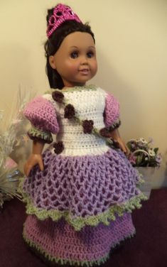This is a free crochet pattern for the American Girl or 18 inch doll. PDF download. #crochetdolls