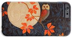 """IPhone 6s Case featuring the painting """"Owl And Moon On A Quilt"""" by Nancy Lee Moran.  Impact-resistant, slim-profile, hard-shell case provides direct access to all of the phone's features."""