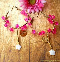 Boho ring oorbellen, roze kraaltjes & vergulde Wish hangers