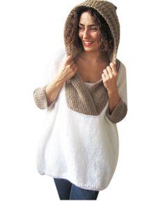 Más el tamaño de la mano del suéter de punto con capucha-Blanco-Beige - Poncho - Túnica - Dress por Afra