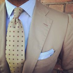 "danielmeul: ""#ootd #suit #cesareattolini #shirt #finamore1925 #linen cotton Riva fabric#tie and pocket square#Violamilano #sand is the colour of the day """