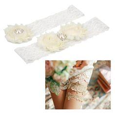 68c314d7670 Wedding Garter Set Lace Bridal Garter Wedding Accessories White Lace Pearl  Garter for Bridal Decoration