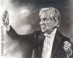 Leonard Bernstein. Charcoal painting by  T. F. Lu..