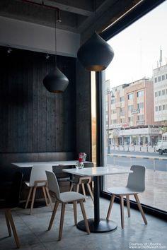 Modern Bistro Restaurant Displaying Black and White Design