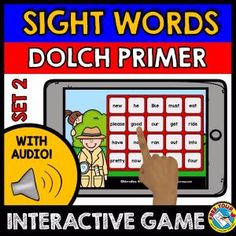 A fun sight words game (Dolch Primer words) where kids hear sight words and click the corresponding words. Detective theme makes it even more fun for kids to hunt for the words! :)    This game contains 20 words from the Dolch Primer Words. The other Dolch Primer sight words are found in another two games.     Keywords: detective theme, identifying sight words, interactive audio game, common words, fluency words, Kindergarten sight words, Dolch Primer Words, Dolch sight words