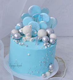 Baby Boy Birthday Themes, Cute Birthday Cakes, Birthday Cake With Flowers, 1st Birthday Cake Smash, Baby Boy First Birthday, Baby Shower Cakes For Boys, Baby Boy Cakes, Christening Cake Girls, Button Cake